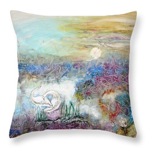 Two Herons Dancing In An Expressionistic Moonlit Marsh Throw Pillow featuring the painting Marshland Ballet by Sarah Wharton White
