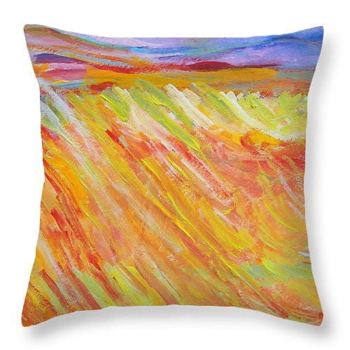 Abstract Throw Pillow featuring the painting Marshlands by Judith Redman