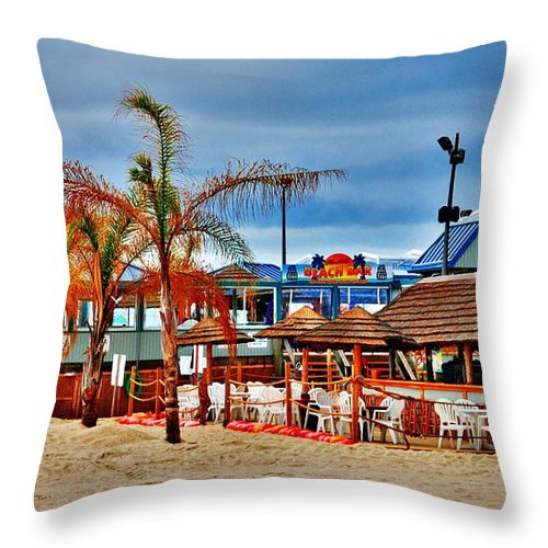 Jersey Shore Throw Pillow featuring the photograph Martells On The Beach - Jersey Shore by Angie Tirado