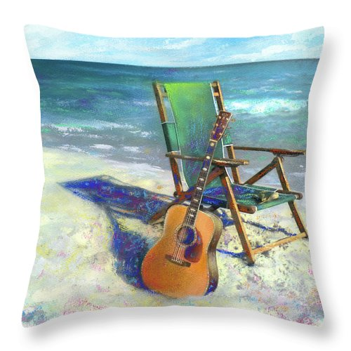 Guitar Throw Pillow featuring the painting Martin Goes to the Beach by Andrew King