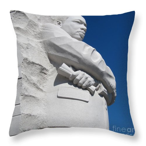 Mlk Throw Pillow featuring the photograph Martin Luther King Jr. Memorial - Washington Dc by Anna Maria Virzi