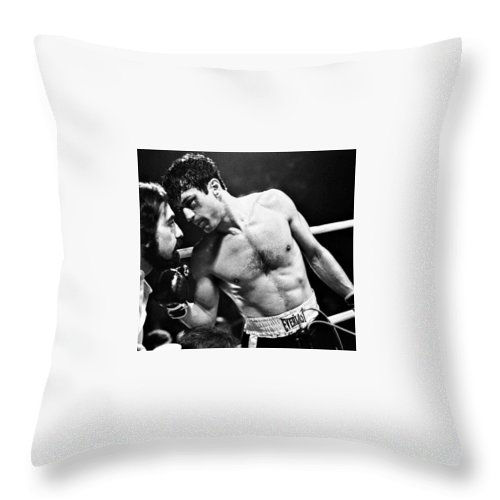 Martin Scorsese And Robert Deniro Publicity Photo Raging Bull 1 1980 Throw Pillow featuring the photograph Martin Scorsese And Robert Deniro Publicity Photo Raging Bull 1 1980 by David Lee Guss