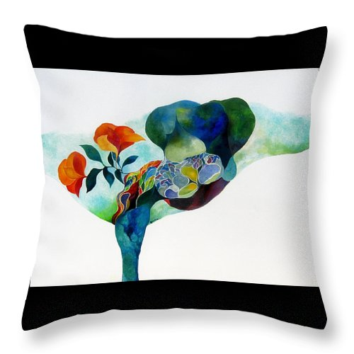 Abstract Throw Pillow featuring the painting Martini Anyone by Peggy Guichu