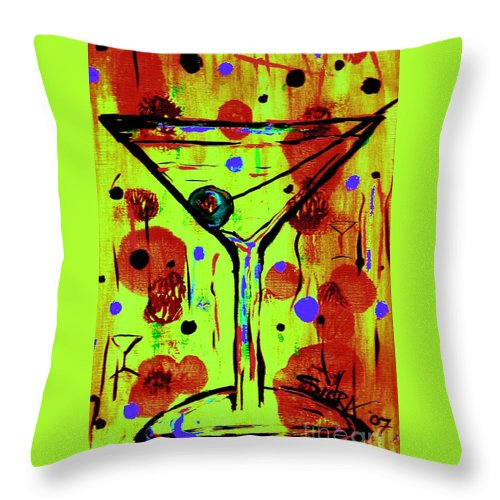 Martini Throw Pillow featuring the painting Martini Madness by Sidra Myers