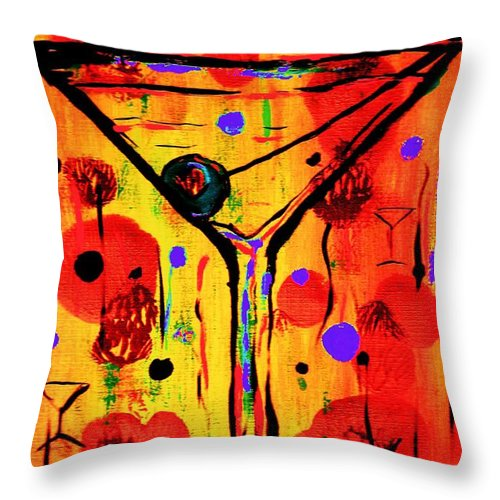 Martini Throw Pillow featuring the painting Martini Twentyfive Of Sidzart Pop Art Collection by Sidra Myers