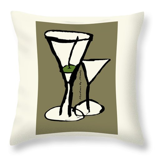 Martini Throw Pillow featuring the painting Martini With Green Background by Empowered Creative Fine Art