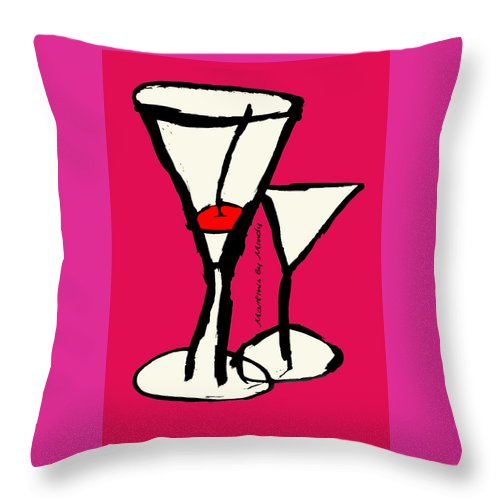 Martini Throw Pillow featuring the painting Martini With Pink Background by Empowered Creative Fine Art