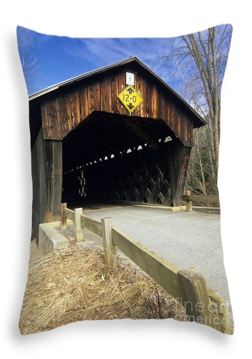 Bridge Throw Pillow featuring the photograph Martinsville Covered Bridge- Hartland Vermont Usa by Erin Paul Donovan