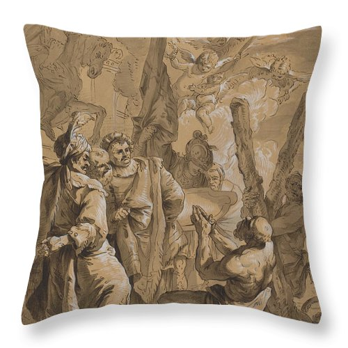 Throw Pillow featuring the drawing Martyrdom Of Saint Andrew by Follower Of Francesco Fontebasso