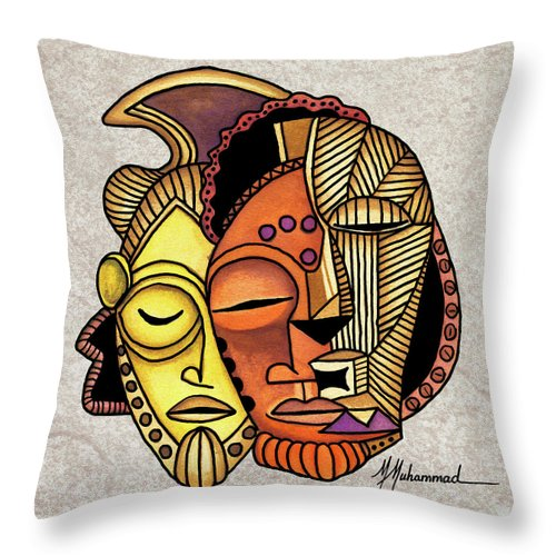 Mask Throw Pillow featuring the painting Maruvian Masks 2 by Marcella Muhammad