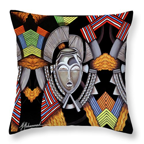 Mask Throw Pillow featuring the painting Maruvian Silver Mask by Marcella Muhammad