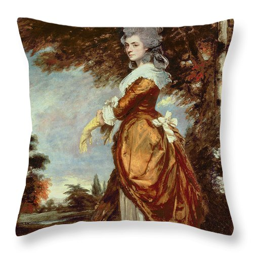 Woman Throw Pillow featuring the painting Mary Amelia First Marchioness Of Salisbury by Sir Joshua Reynolds