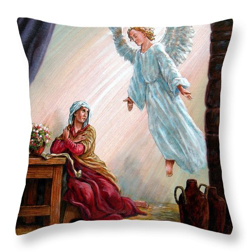 Angel Throw Pillow featuring the painting Mary And Angel by John Lautermilch