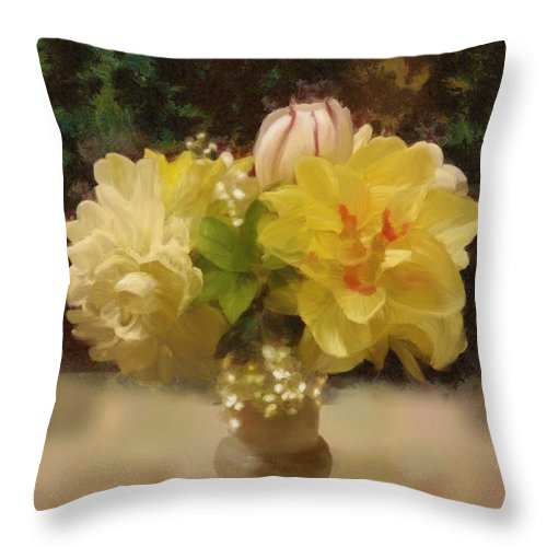 Flowers Throw Pillow featuring the painting Mary Beth's First Spring Flowers by Lola VJ