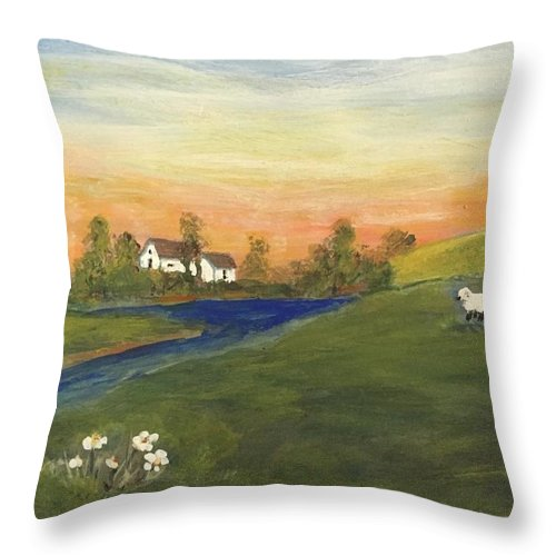 Throw Pillow featuring the painting Mary Had A Little Lamb by Evelyn Skinner