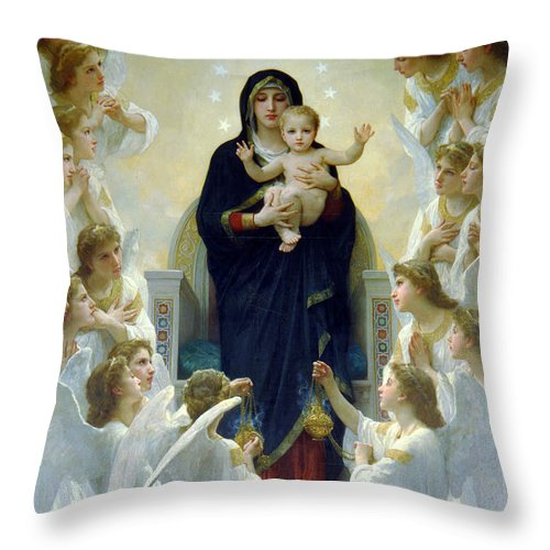 Mary Throw Pillow featuring the photograph Mary With Angels by Munir Alawi