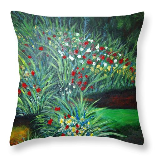 Landscape Throw Pillow featuring the painting Maryann's Garden 3 by Nancy Mueller