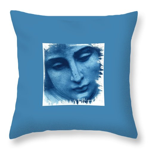 Blue Throw Pillow featuring the photograph Marys Blues by Jane Linders