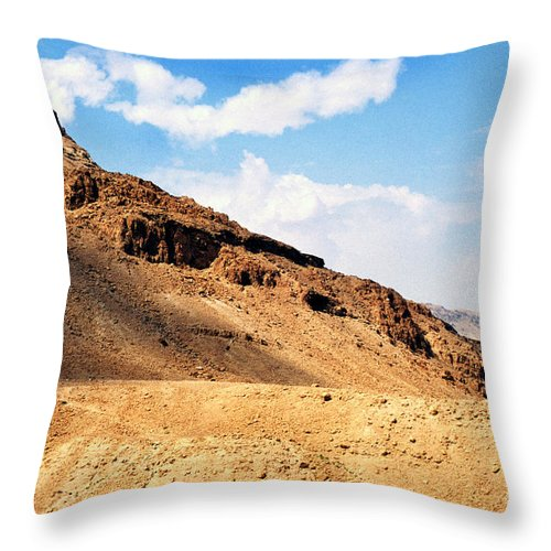 Masada Throw Pillow featuring the photograph Masada Mountaintop Fortress by Thomas R Fletcher