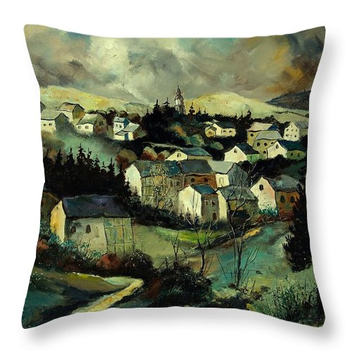 Winter Throw Pillow featuring the painting Masbourg by Pol Ledent