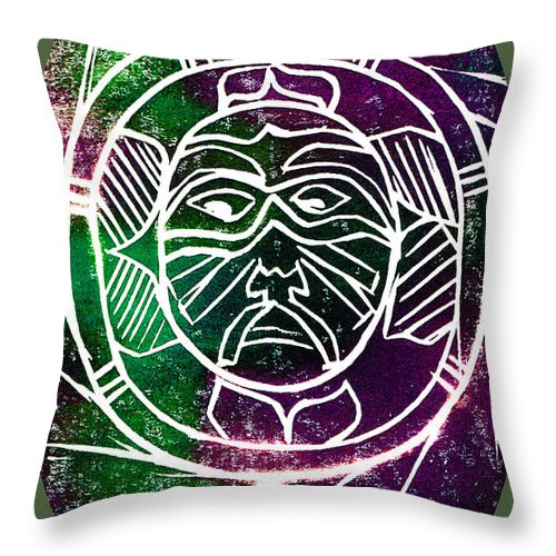Mask Throw Pillow featuring the painting Mask by Brenda Owen