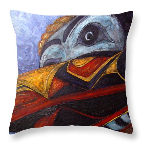 Raven Throw Pillow featuring the painting Mask Of The Raven by Elaine Booth-Kallweit