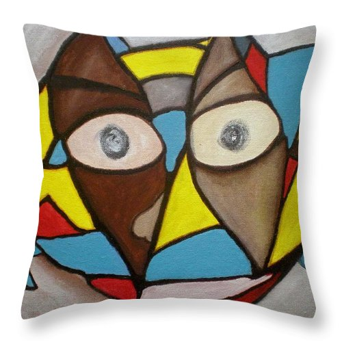 Masks Throw Pillow featuring the painting Mask by Philip Okoro