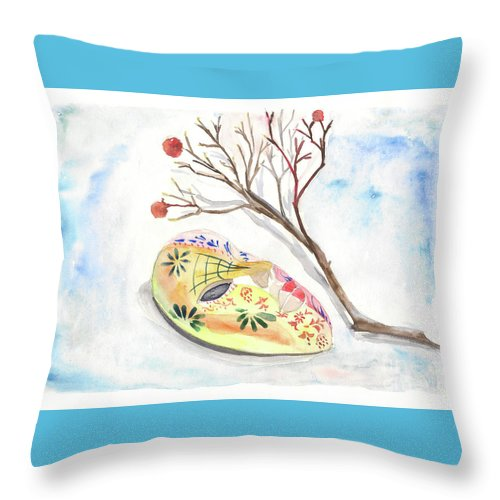 Mask Throw Pillow featuring the painting Mask by Yana Sadykova