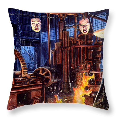 Fantasy Throw Pillow featuring the painting Masks by Ken Meyer jr