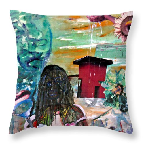 Water Throw Pillow featuring the painting Masks Of Life by Peggy Blood
