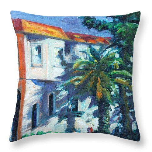 Cityscape Throw Pillow featuring the painting Masonic by Rick Nederlof
