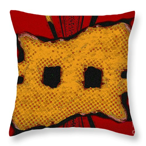 Orange Throw Pillow featuring the digital art Masquerade 1 by Dee Flouton