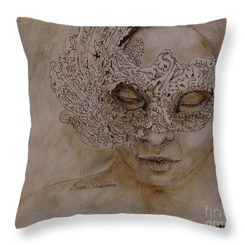 Mask Throw Pillow featuring the drawing Masquerade by Enzie Shahmiri