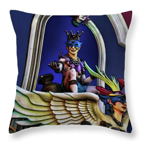 Costume Throw Pillow featuring the digital art Masquerade by Joan Minchak