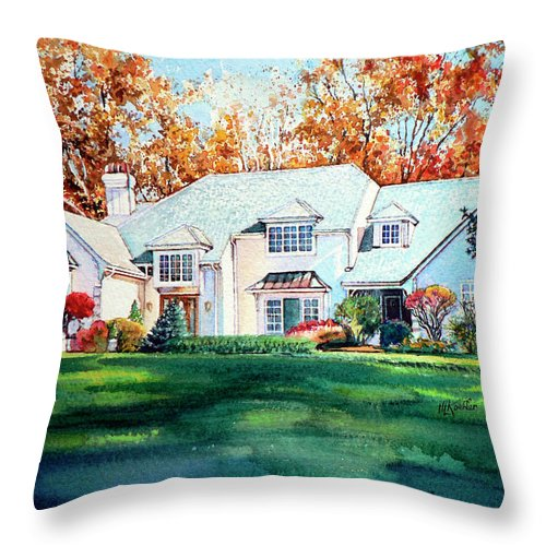 House Portrait Throw Pillow featuring the painting Massachusetts Home by Hanne Lore Koehler