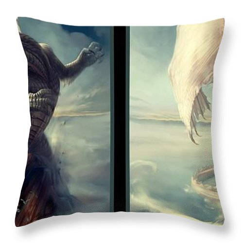 3d Throw Pillow featuring the digital art Massive Dragon - Gently Cross Your Eyes And Focus On The Middle Image by Brian Wallace