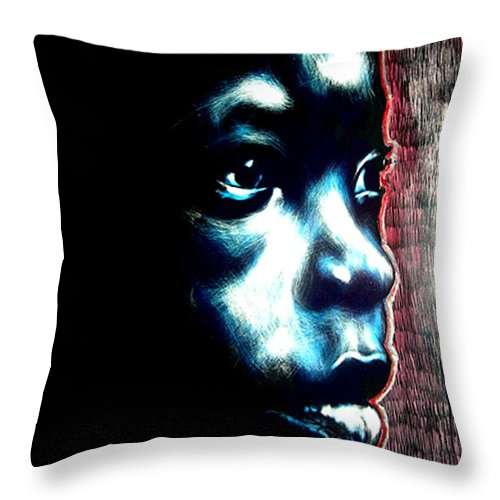 Throw Pillow featuring the mixed media Master Blue by Chester Elmore