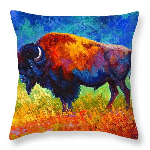 Wildlife Throw Pillow featuring the painting Master Of His Herd by Marion Rose