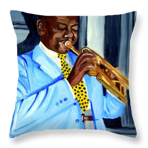 Street Musician Throw Pillow featuring the painting Master Of Jazz by Michael Lee