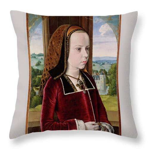 Margaret Of Austria Throw Pillow featuring the painting Master Of Moulins by Jean Hey
