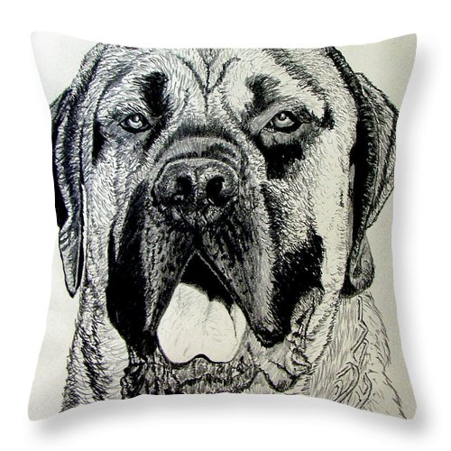 Mastiff Throw Pillow featuring the drawing Mastiff by Stan Hamilton