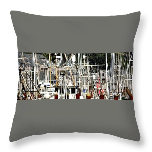 Oregon Throw Pillow featuring the photograph Masts 2354 by Jerry Sodorff