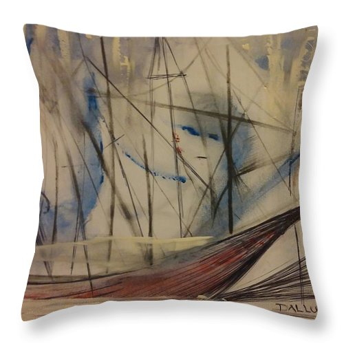 Throw Pillow featuring the painting Masts by Gregory Dallum
