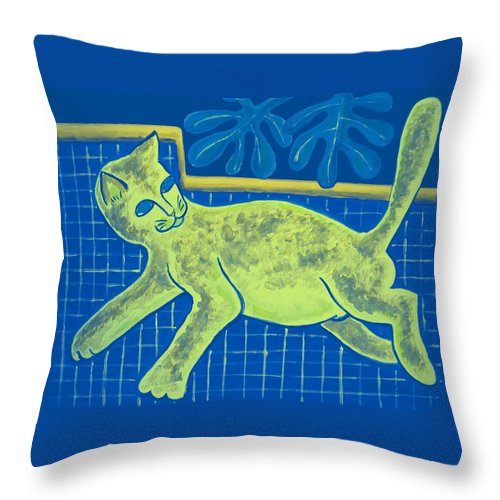 Throw Pillow featuring the digital art Matisse's Cat In Reverse by George I Perez