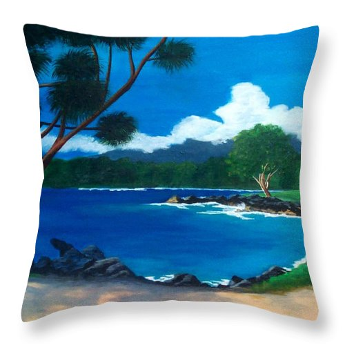 Inlet Throw Pillow featuring the painting Maui Inlet by Nancy Nuce