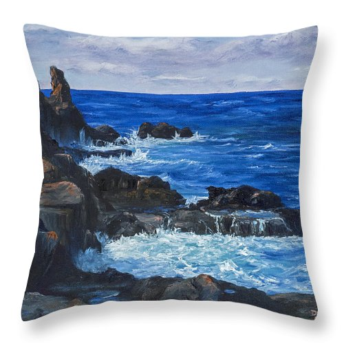 Seascape Throw Pillow featuring the painting Maui Rugged Coastline by Darice Machel McGuire
