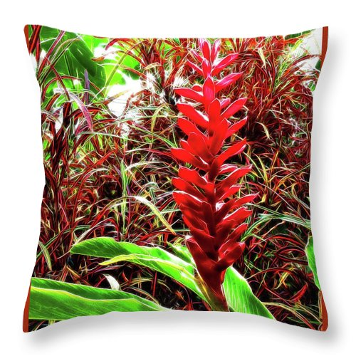 Maui Throw Pillow featuring the photograph Maui Tropical Floral by Joan Minchak