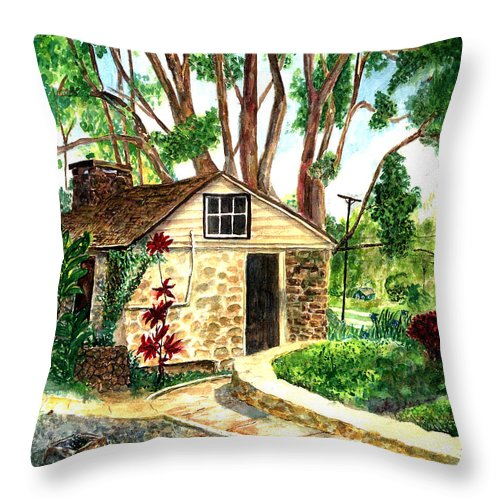 Maui Throw Pillow featuring the painting Maui Winery by Eric Samuelson