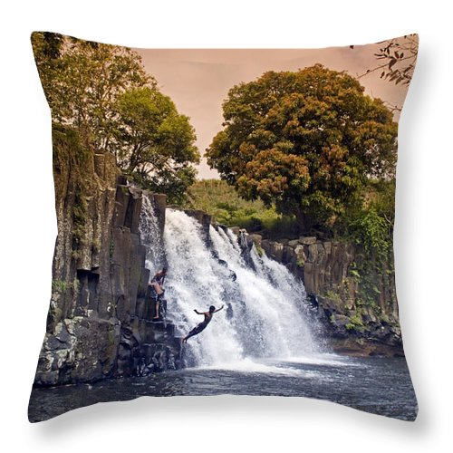 10 Metres Throw Pillow featuring the photograph Mauritius Rochester Falls by Juergen Held