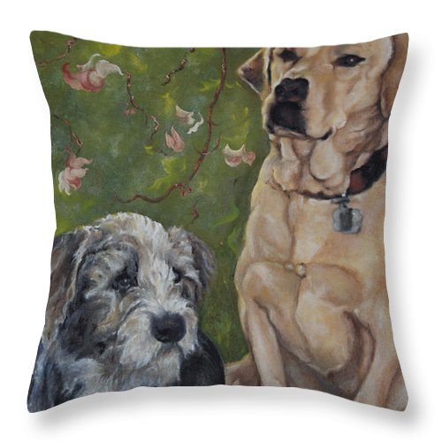 Dogs Throw Pillow featuring the painting Max And Molly by Stephanie Broker